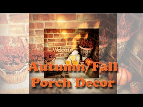 Autumn/fall porch decor before and after