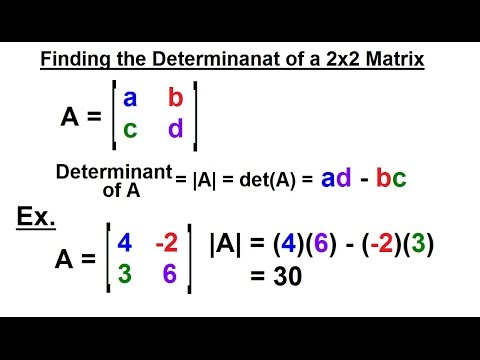 PreCalculus - Matrices & Matrix Applications (29 of 33) Find the Determinant of a 2x2 Matrix