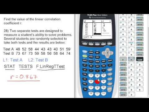 Find value of linear correlation coefficient r. Stats 160 Final Review #28