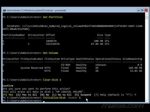 Partitioning and Formatting Disks on Server Core 2016 with PowerShell