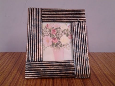 DIY  How to make Photo Frame Out of Waste Cardboard and Newspaper