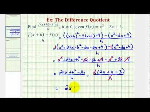 Ex 2:  The Difference Quotient (Quadratic Function)