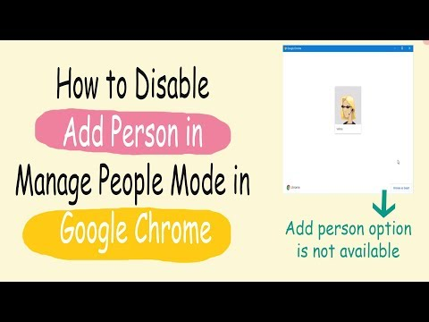 How to disable add person in manage people mode in google chrome