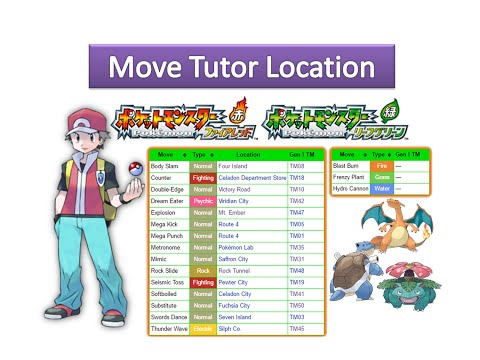 Pokemon Fire Red & Leaf Green - All Move Tutor Locations