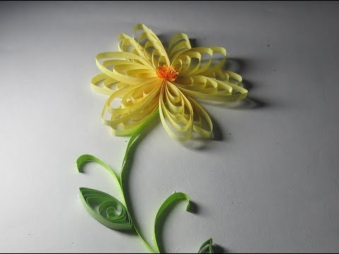 Quilling Flower Tutorial ; How to make Quilling Sunflower by using comb.