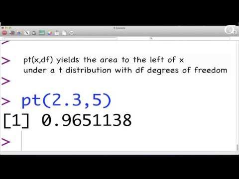R Basics: Finding Percentiles and Areas for the t Distribution