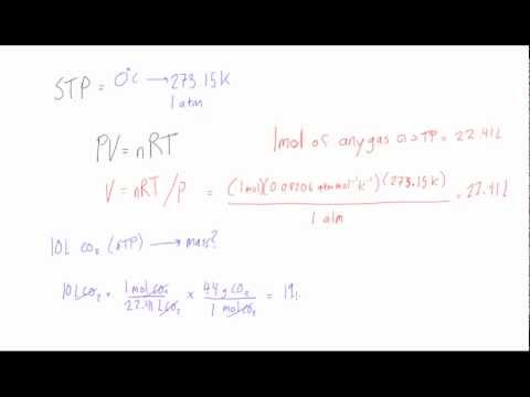 Using the ideal gas law under STP conditions
