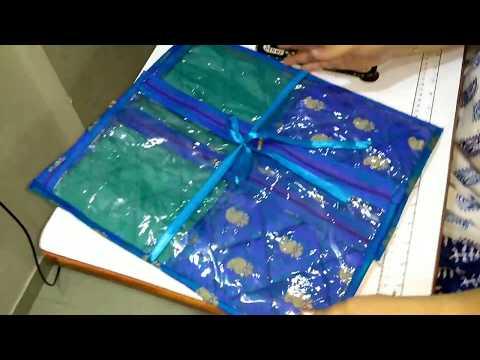 Twin Pocket Single Saree Cover, Saree Cover, Organize your sarees, सारी कव्हर बनाइये अलग तरिके से