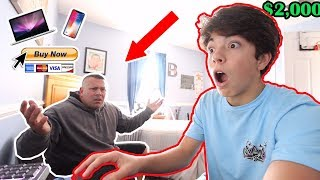 I STOLE MY DADS CREDIT CARD FOR 1 HOUR & BOUGHT WHATEVER I WANTED! *He Was So Mad*