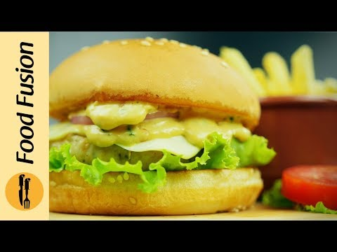 Double Melt Chicken Cheese Burger Recipe By Food Fusion