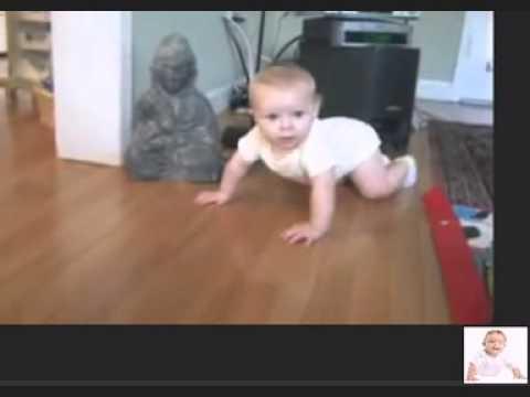 baby crawling - cute baby make effort to crawle