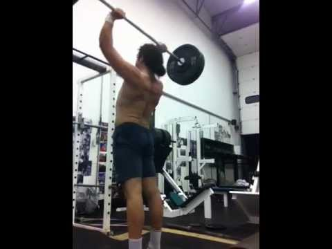Manly Curls - The clean & press (187lbs x 2 reps @ 180lbs bodyweight)