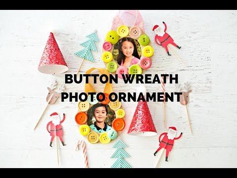 Button Wreath Photo Ornament