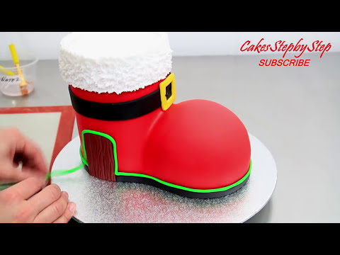 How To Make a SANTA BOOT HOUSE Cake by Cakes StepbyStep