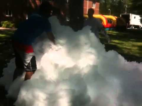 Leaf Blower + Soap Water = Foam Pit