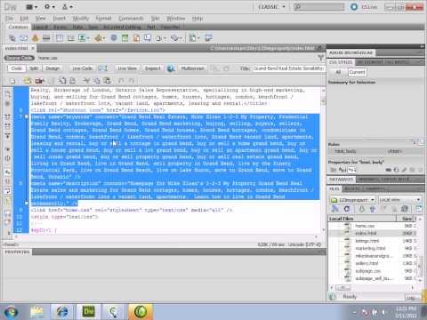 How to Create Meta Data (Description, Keywords, etc.) Using Dreamweaver CS5