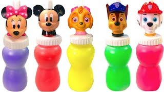 Learn Colors with Paw Patrol Mickey Mouse Slime Surprise Colours | Fizzy Fun Toys