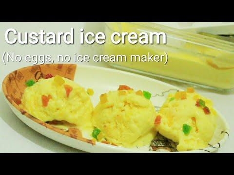 Custard powder ice cream without ice cream maker - Ice cream recipe - Custard recipe