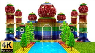 Diy - How To Make Rainbow Taj Mahal With Magnetic Balls And Slime - Asmr 4k - Magnet Balls