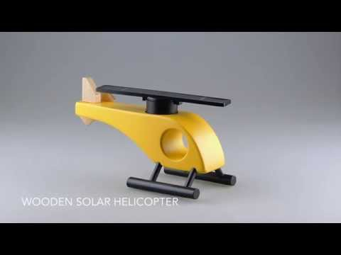 Wooden Solar Helicopter in Yellow - Straight Rotor