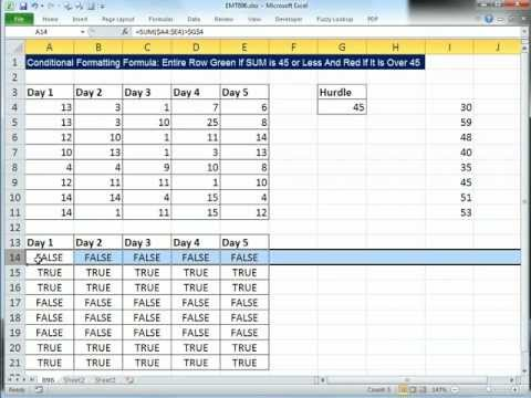 Excel Magic Trick 896:  Conditional Formatting Formula: Entire Row Red If SUM Greater Than 45
