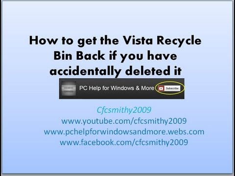 How to get the vista reycle bin desktop icon back on the desktop if you have accidently deleted it.