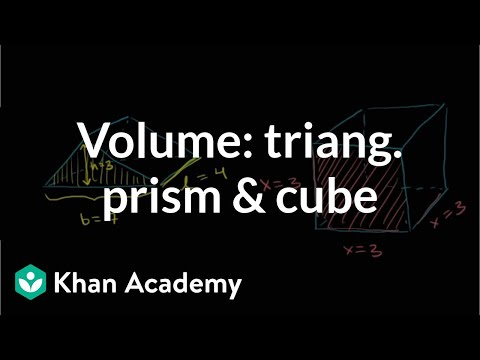 Find the volume of a triangular prism and cube | Geometry | Khan Academy