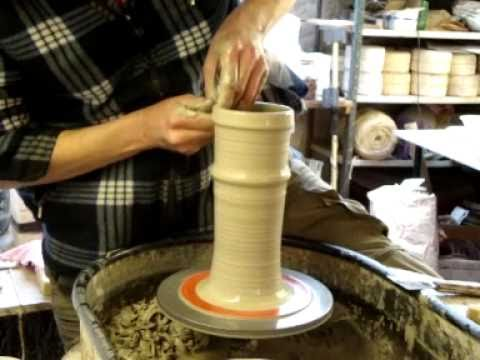 Making a Model Clay pottery Ceramic Lighthouse on the wheel