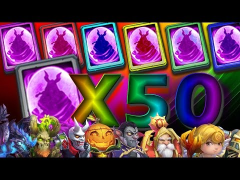 Opening 50 Legendary Hero Cards Rolling 50000 Gems Castle Clash