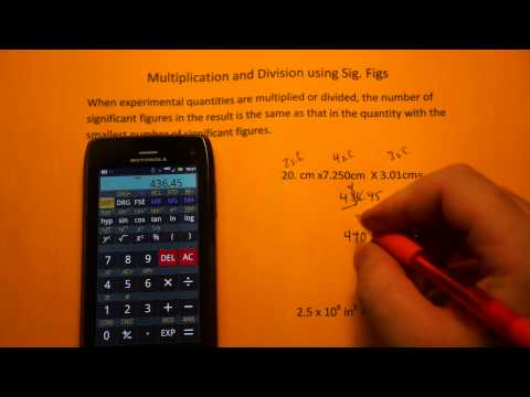 Multiplication and Division using Significant Figures (sig figs)