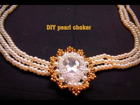 DIY || How to make Bridal Pearl Necklace part [2] || latest pearl choker