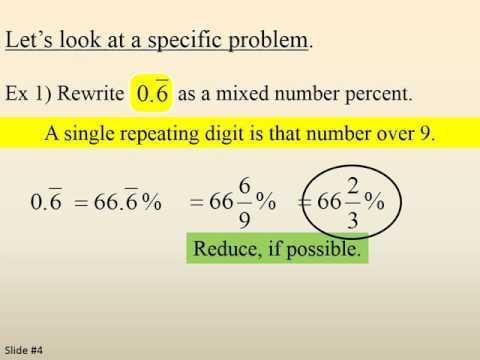 Turn Repeating Decimals into Mixed Number Percents