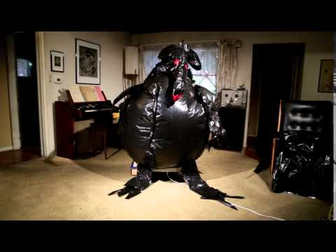 homemade garbage bag inflatable creature halloween 2015
