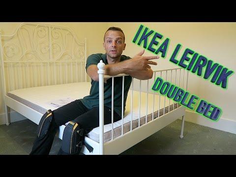 IKEA Leirvik bed frame assembly.