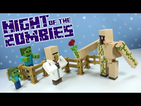 Minecraft Survival Mode Night of the Zombies Toys Mattel with Iron Golem