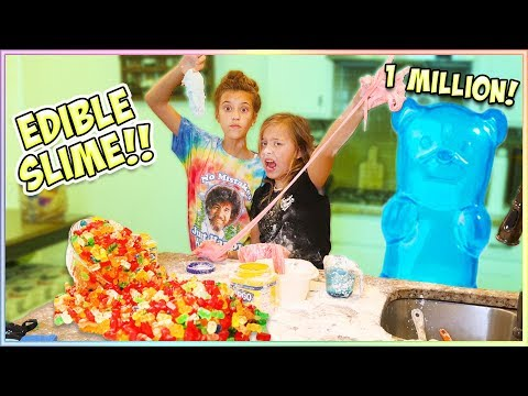 WE MADE EDIBLE SLIME WITH OUR 1 MILLION GUMMY BEARS!!
