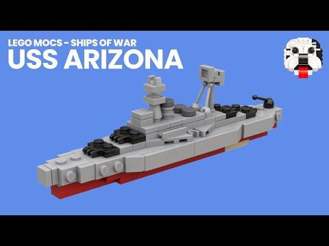 LEGO MOCs - Ships Of War - Mini LEGO USS Arizona (BB-39) [Video Instructions]