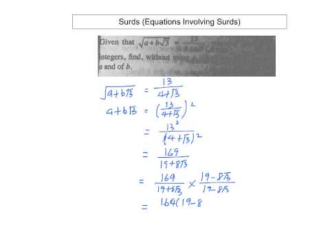 Surds (Equations Involving Surds)
