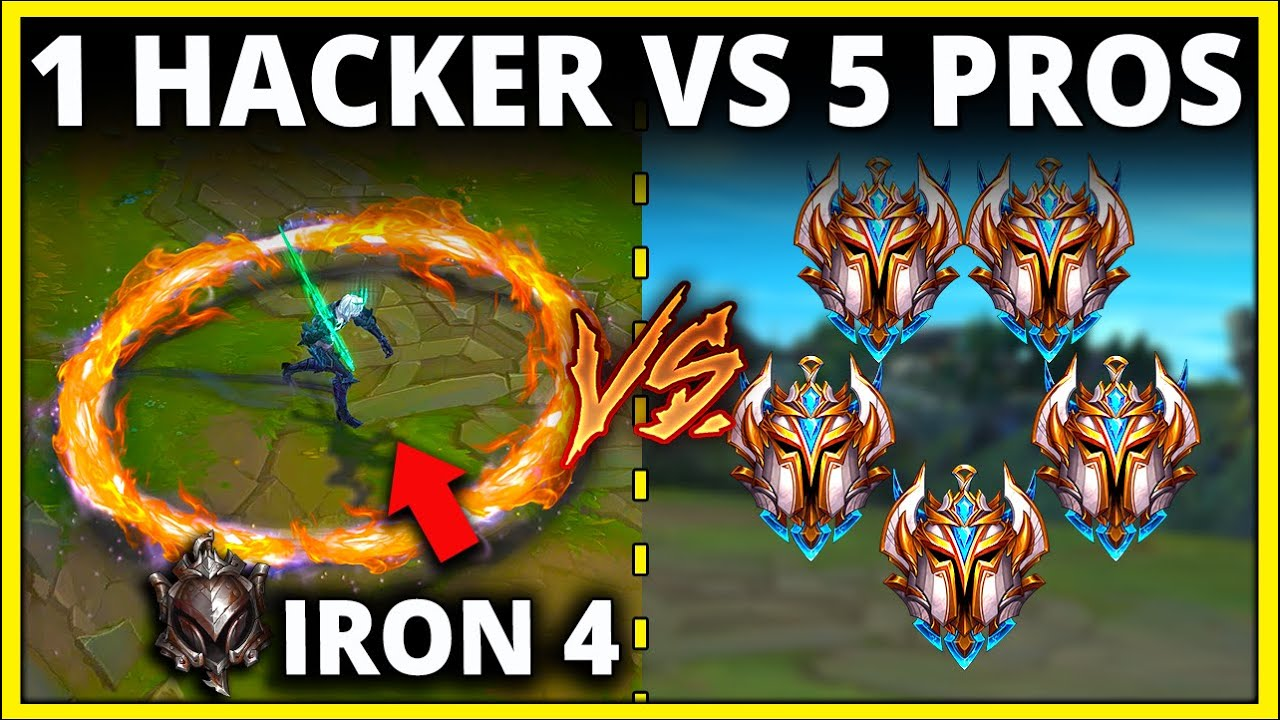 1 Iron Player vs. 5 Challengers, but the Iron Player is Hacking (150+ KILLS) - League of Legends