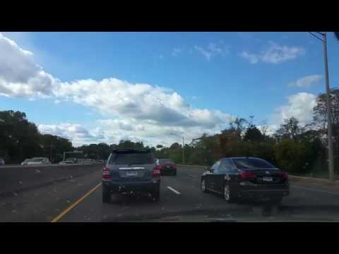 Driving on the I-95 from Stamford to Greenwich,Connecticut