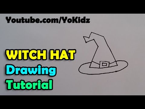 How to draw a Witch Hat for kids easy and simple