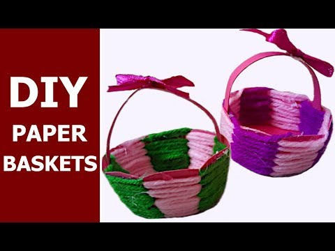 How to make cute baskets out of paper and woollen thread