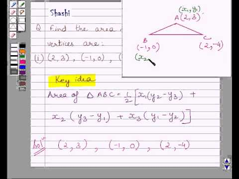 Example:Find Triangle Area for given Coordinates of  Vertices