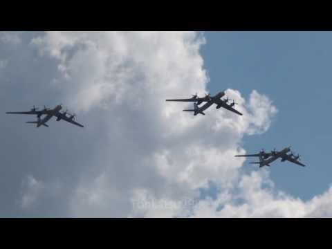 Russian Air Force Tu-95 Ту-95 Bear Fly over Russian Air Force 100th Anniversary Air Show 2012
