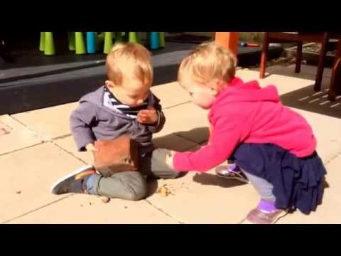 Twins Demonstrate How to Open a Walnut