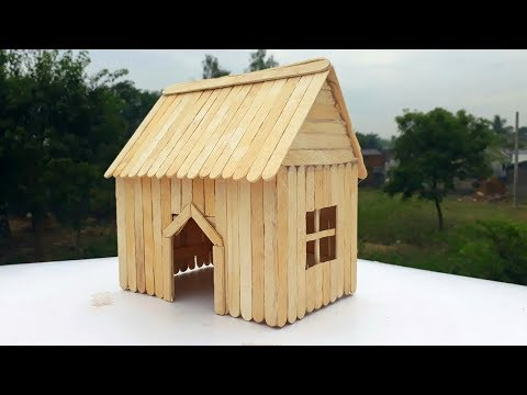 How to make ice cream stick house craft.Easy house making for small pet with popsicle