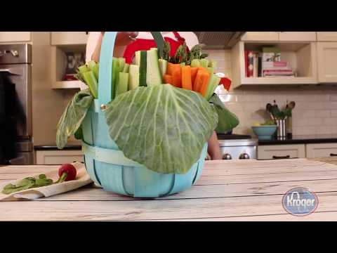 How To Make A Veggie Easter Basket | Easter Vegetable Tray Idea - The Produce Moms