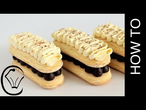 Sponge Finger Eclairs with Truffle Filling and White Chocolate Mousse Topping