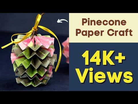 Christmas Pinecone Paper Craft Ornament for Christmas Decorations