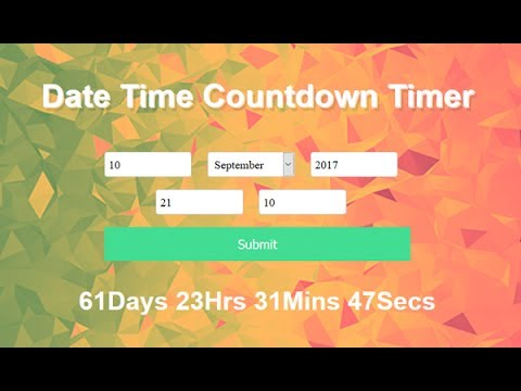 Date Time Countdown Timer Using Javascript, Create A Countdown Website, Countdown Timer To Any Date
